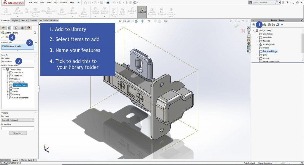 SolidWorks Smart Features 3D Hinge model