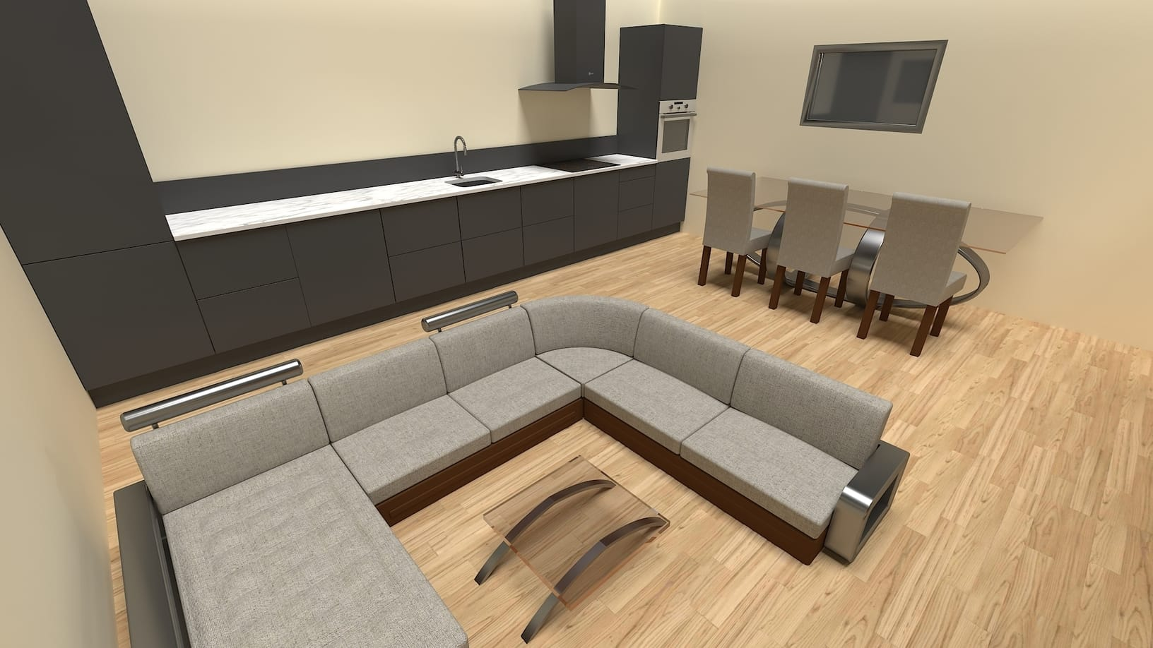 3D Product Visualisation of a kitchen and living room