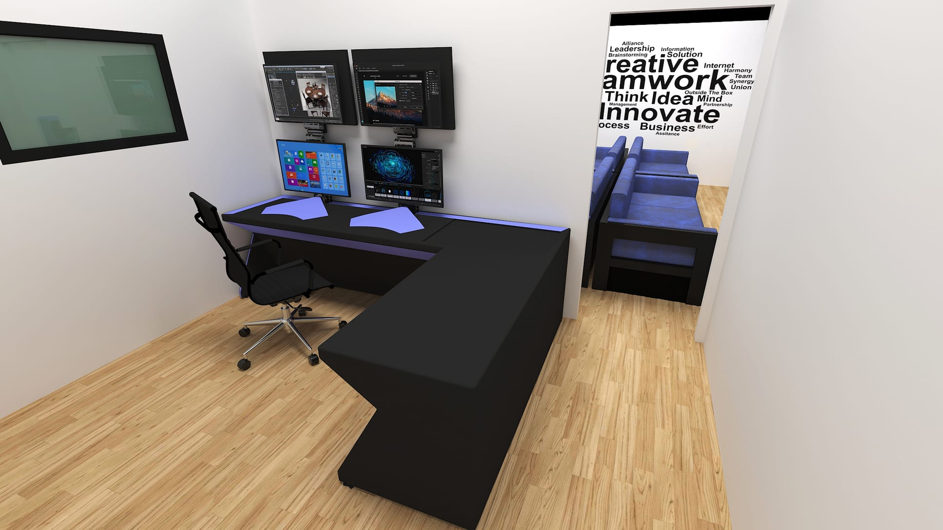 3D rendering of a blue office