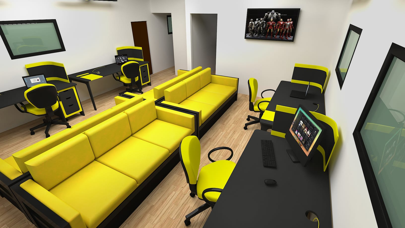 3d rendering services of a yellow office building