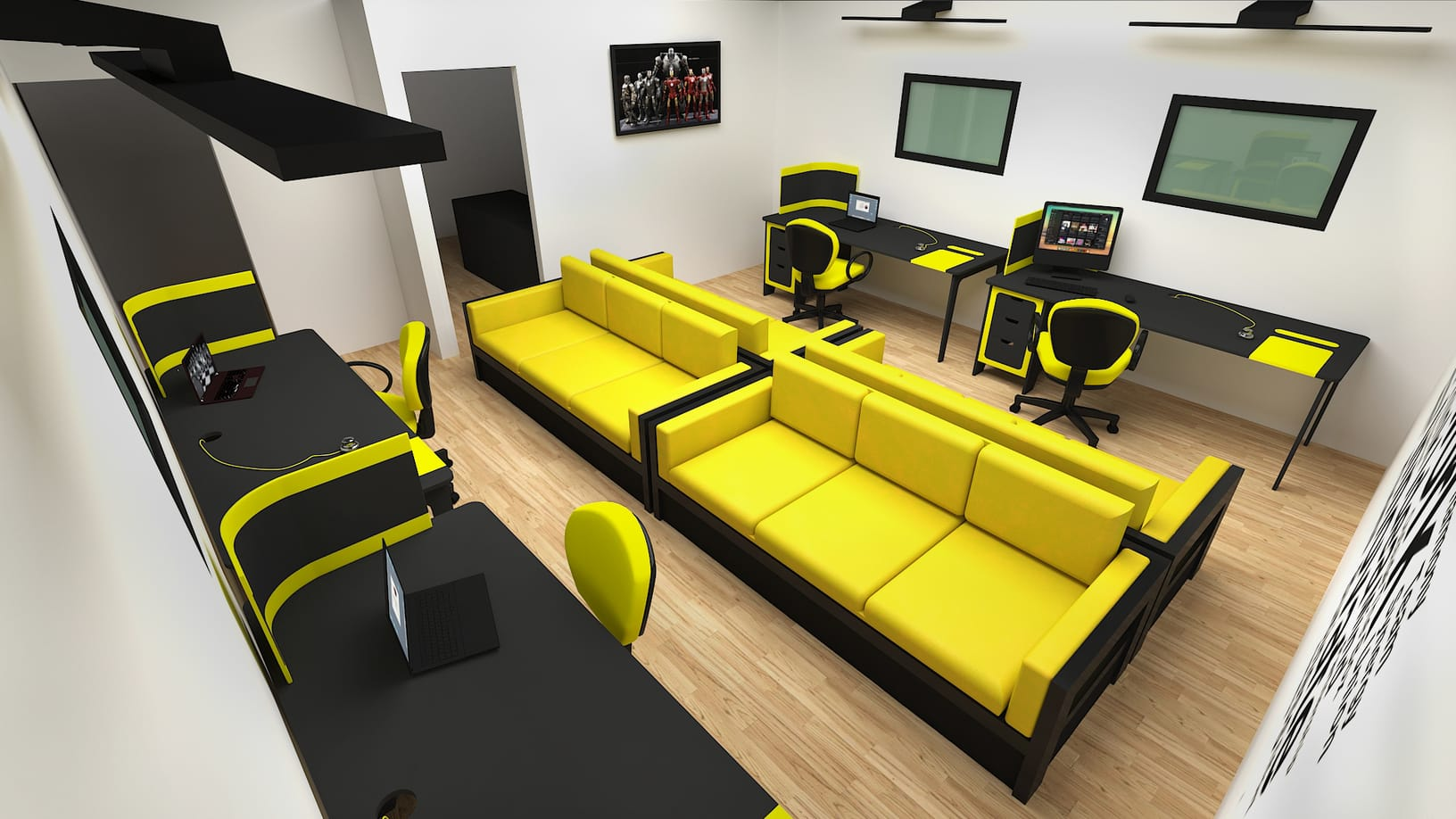 3D Visualisation of a office building and PC