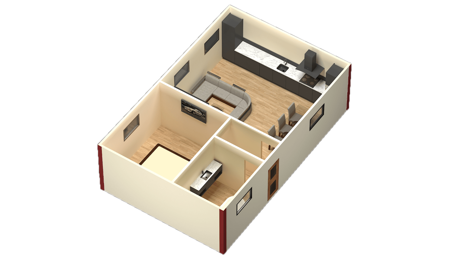 3d architectural renders isometric